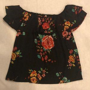 Xhilaration size Large black floral top